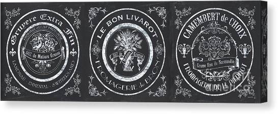 Milk Canvas Print - Chalkboard French Cheese Labels by Debbie DeWitt