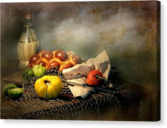 Still Life With Fish Canvas Print - Challah Bread by Diana Angstadt