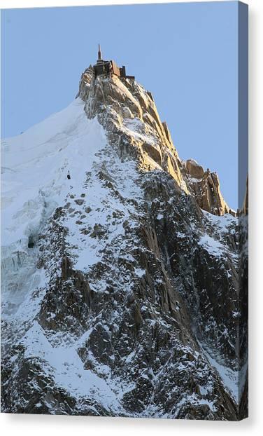 Ice Climbing Canvas Print - Chamonix - Aiguille Du Midi by Pat Speirs