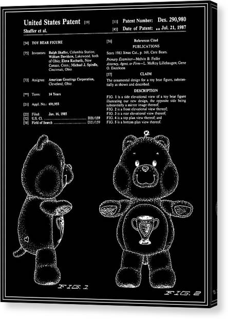 Care Bears Canvas Print - Champ Bear Patent - Black by Finlay McNevin