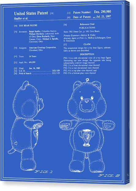 Care Bears Canvas Print - Champ Bear Patent - Blueprint by Finlay McNevin
