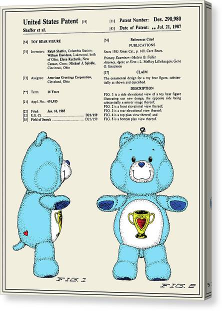 Care Bears Canvas Print - Champ Bear Patent by Finlay McNevin