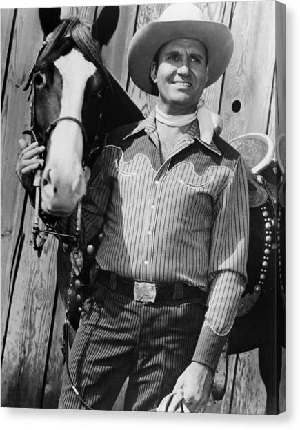 1950s Movies Canvas Print - Champion And Gene Autry by Everett