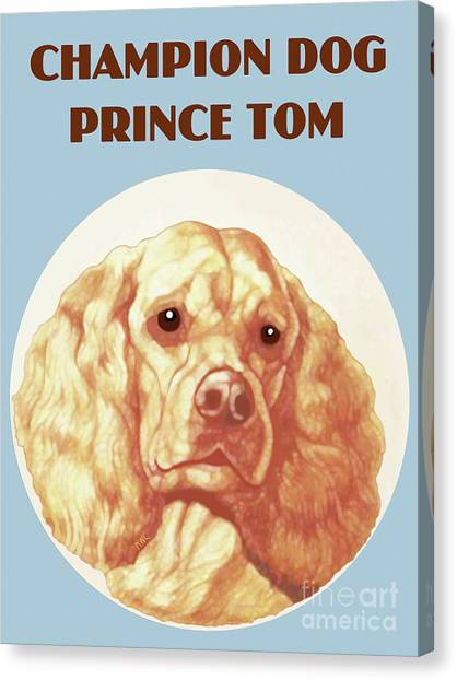 Canvas Print featuring the painting Champion Dog Prince Tom by Marian Cates