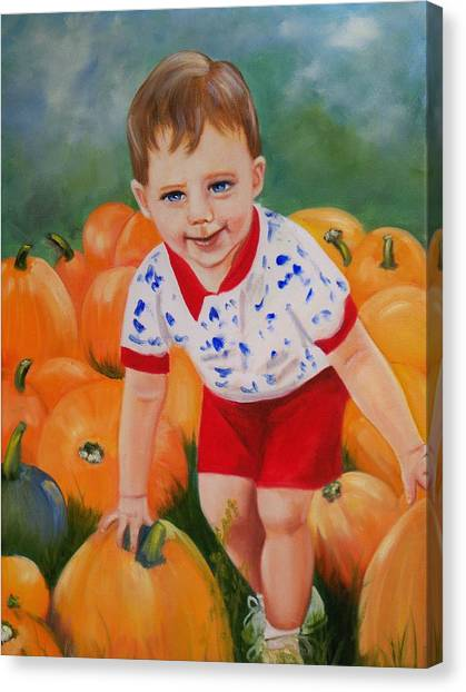 Chance With The Pumpkins Canvas Print by Joni McPherson