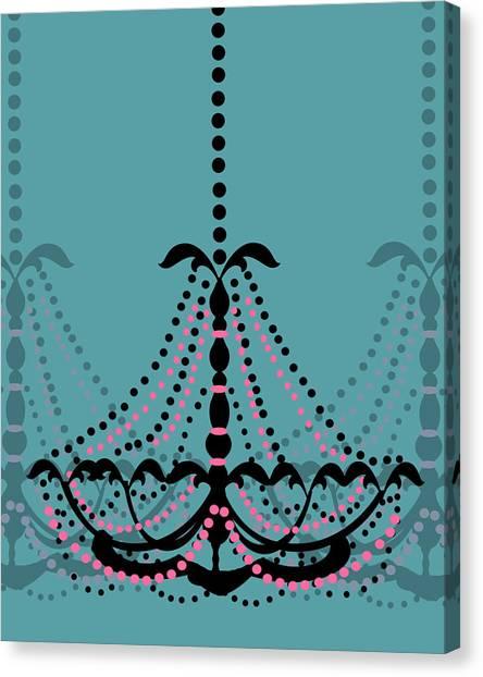Chandelier Delight 3- Blue Background Canvas Print