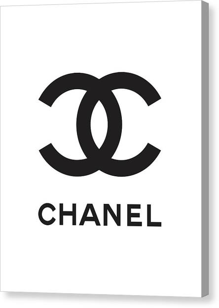 Logo Canvas Print - Chanel - Black And White 04 - Lifestyle And Fashion by TUSCAN Afternoon