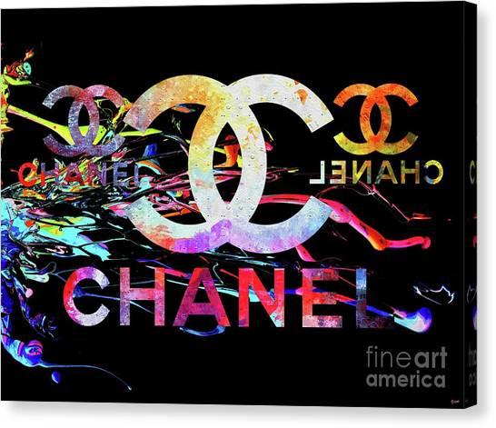 Logo Canvas Print - Chanel Black by Daniel Janda
