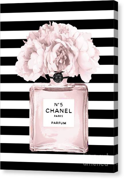 Peony Canvas Print - Chanel N.5, Black And White Stripes by Del Art