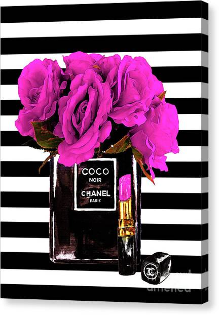 Chanel Canvas Print - Chanel Noir Perfume With Flowers by Del Art