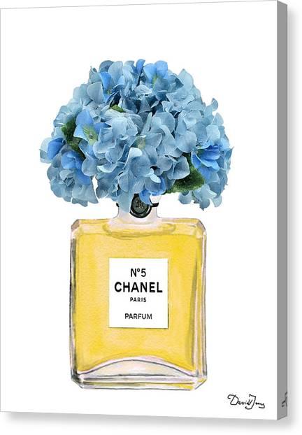 Chanel Canvas Print - Chanel Perfume Nr 5 With Blue Hydragenias  by Del Art