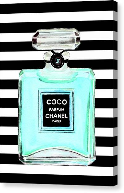 Chanel Canvas Print - Chanel Perfume Turquoise Chanel Poster Chanel Print by Del Art