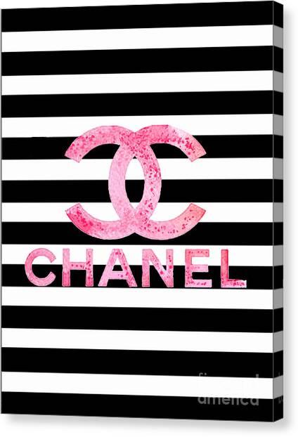 Logo Canvas Print - Chanel Pink Logo On Stripes by Del Art