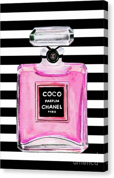 Chanel Canvas Print - Chanel Pink Perfume 1 by Del Art