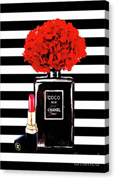 Chanel Canvas Print - Chanel Poster Chanel Print Chanel Perfume Print Chanel With Red Hydragenia 3 by Del Art