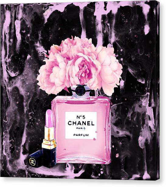 Chanel Canvas Print - Chanel Print Chanel Poster Chanel Peony Flower Black Watercolor by Del Art