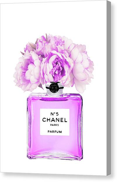 Chanel Canvas Print - Chanel Print Chanel Poster Chanel Peony Flower by Del Art