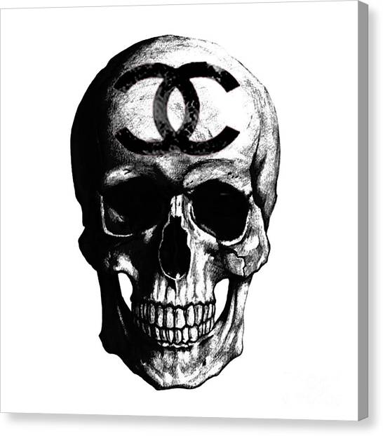 Chanel Canvas Print - Chanel Skull Black by Del Art