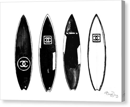 Surfboard Canvas Print - Chanel Surfboard  Black And White by Del Art
