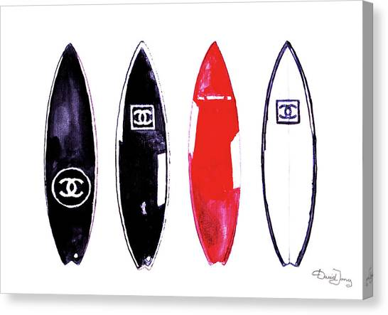 Surfboard Canvas Print - Chanel Surfboards Print Chanel Surfboards Poster Chanel Surfboards Decor by Del Art