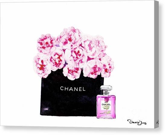 Chanel Canvas Print - Chanel With Flowers by Del Art