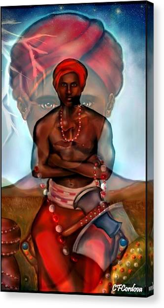 Santeria Canvas Print - Chango Is Watching You by Carmen Cordova