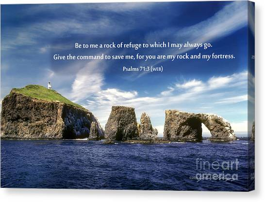 Channel Island National Park - Anacapa Island Arch With Bible Verse Canvas Print