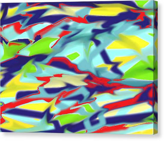 Chaos Into Form Blue Canvas Print