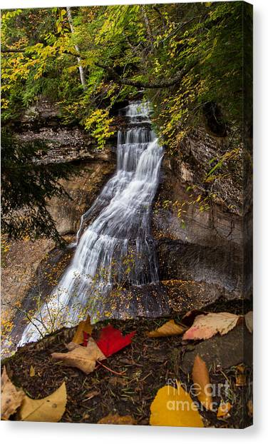 Alger Waterfalls Canvas Print - Chapel Falls On An Autumn Day  2225  by Norris Seward