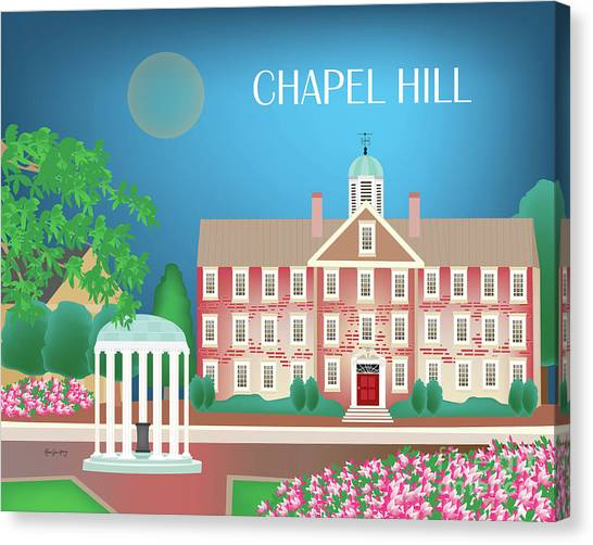 University Of North Carolina Chapel Hill Canvas Print - Chapel Hill North Carolina Horizontal Scene by Karen Young