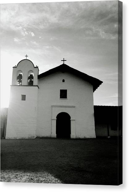 Mission Canvas Print - Chapel In The Shadows- Art By Linda Woods by Linda Woods