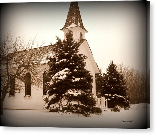 Chapel In The Snow Canvas Print by Trina Prenzi