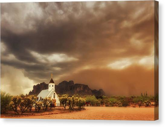 Chapel In The Storm Canvas Print