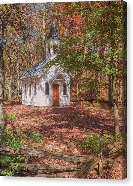 Chapel In Woods At Red Mill 3 Canvas Print
