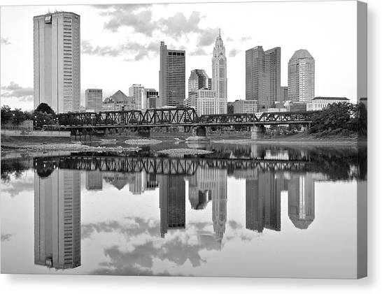 Ohio University Canvas Print - Charcoal Columbus Day Reflection by Frozen in Time Fine Art Photography