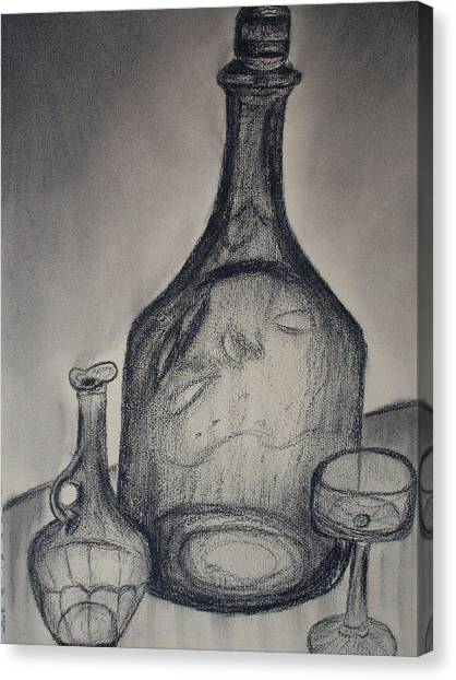 Charcoal  Glass Canvas Print by Emily Ruth Thompson