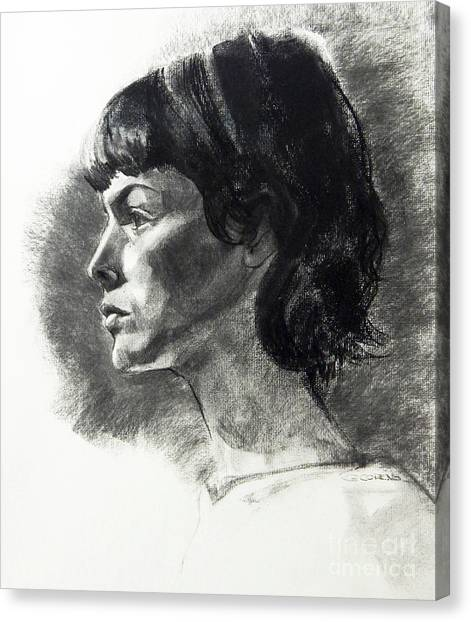 Charcoal Portrait Of A Pensive Young Woman In Profile Canvas Print