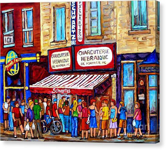 Charcuterie Hebraique Schwartz Line Up Waiting For Smoked Meat Montreal Paintings Carole Spandau     Canvas Print