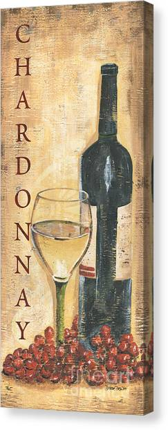 Red Wine Canvas Print - Chardonnay Wine And Grapes by Debbie DeWitt