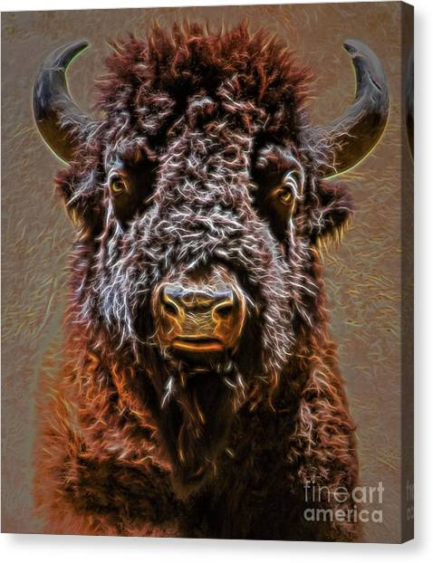 Canvas Print featuring the digital art Charging Bison by Ray Shiu