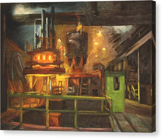 Charging The Arc Furnace Canvas Print