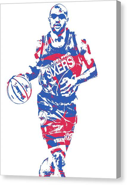 Philadelphia Sixers Canvas Print - Charles Barkley Philadelphia 76ers Pixel Art 6 by Joe Hamilton