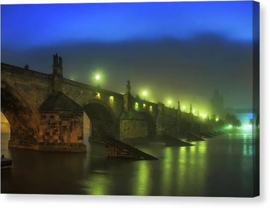 Charles Bridge Night In Prague, Czech Republic Canvas Print