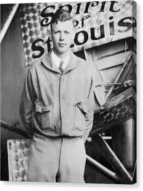 Aviators Canvas Print - Charles Lindbergh by American School