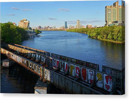 Boston University Bu Canvas Print - Charles River Graffiti by Toby McGuire