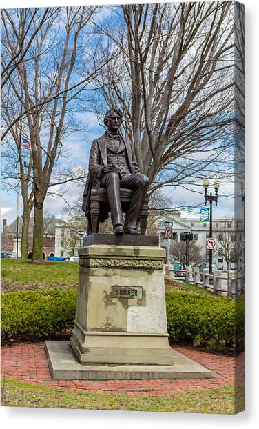 Patriot League Canvas Print - Charles Sumner Statue by Hung Nguyen Long