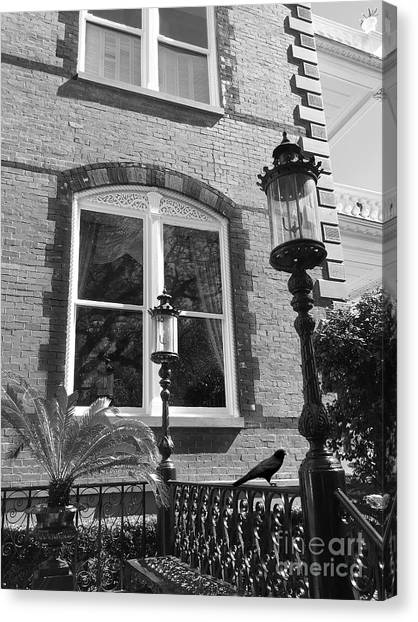 The Haunted House Canvas Print - Charleston French Quarter Architecture - Window Street Lanterns Gothic French Black White Art Deco  by Kathy Fornal