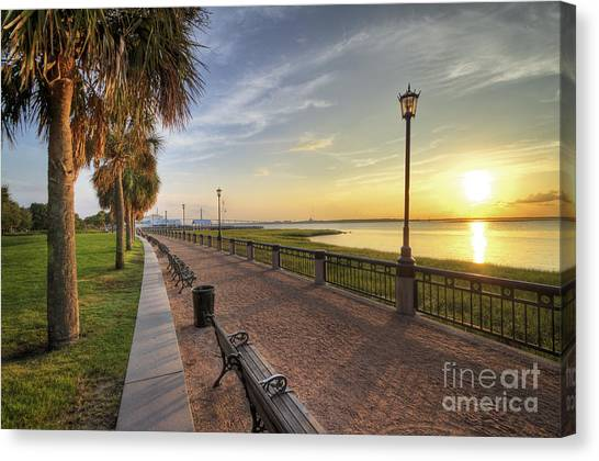 Waterfront Canvas Print - Charleston Sc Waterfront Park Sunrise  by Dustin K Ryan