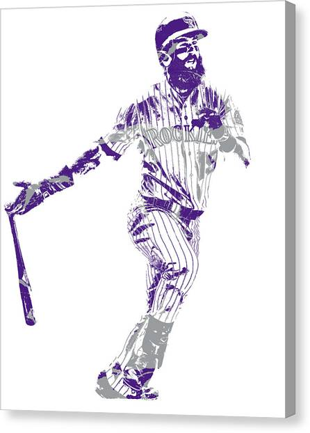 Colorado Rockies Canvas Print - Charlie Blackmon Colorado Rockies Pixel Art 10 by Joe Hamilton