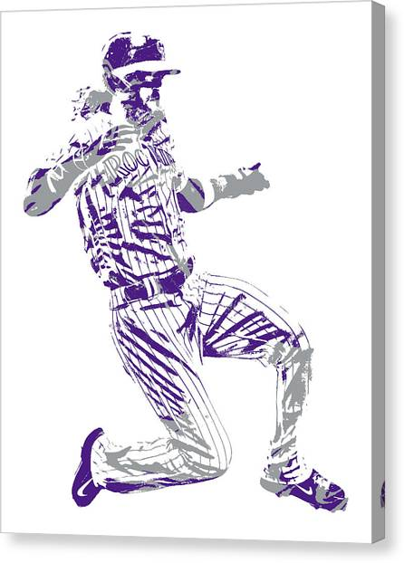 Colorado Rockies Canvas Print - Charlie Blackmon Colorado Rockies Pixel Art 12 by Joe Hamilton